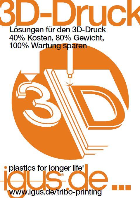"""Die neue """"Lösungen für den 3D Druck"""" Broschüre von igus"""